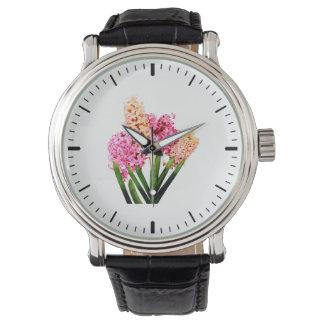 Jacintos anaranjados y rosados relojes de mano