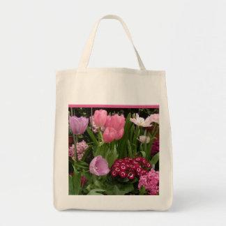Jacintos de las margaritas de los tulipanes bolsa tela para la compra