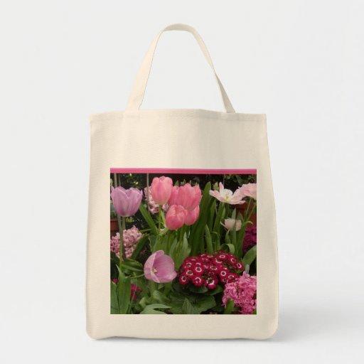 Jacintos de las margaritas de los tulipanes bolsas lienzo