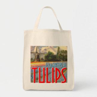 Jacintos y molino de viento de los tulipanes bolsa tela para la compra