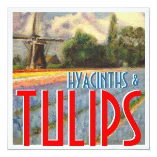 """Jacintos y molino de viento de los tulipanes invitación 5.25"""" x 5.25"""""""