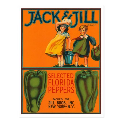 Jack and jill peppers vintage crate label postcard zazzle for Jack e jill house