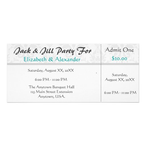 Jack and jill shower ticket style party custom rack card for Jack and jill tickets templates