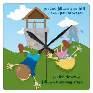 Jack and Jill Square Wall Clock