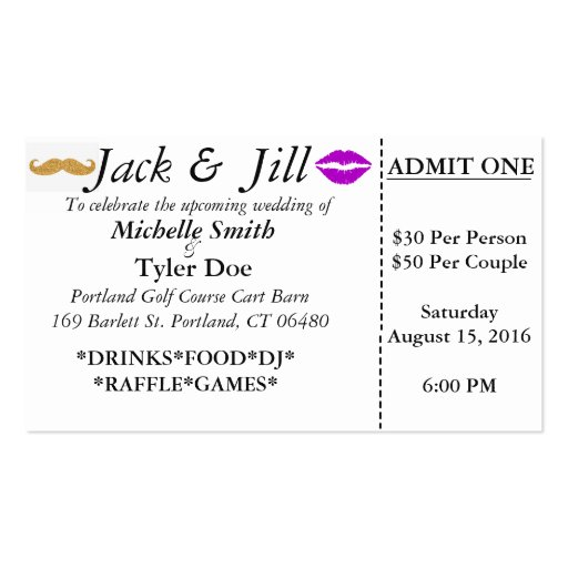 Jack and jill tickets business card zazzle for Jack and jill ticket templates