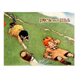 Jack and Jill tumbling down the hill Postcard