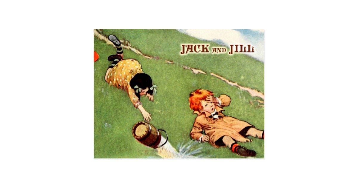 Jack and jill tumbling down the hill postcard zazzle for Jack e jill house