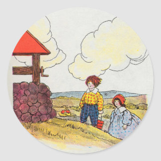 Jack and Jill went up the hill Classic Round Sticker