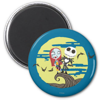 Jack and Sally   Cute Moon Magnet