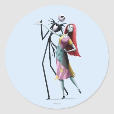 Halloween Themed Jack and Sally Dancing Classic Round Sticker