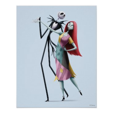 Halloween Themed Jack and Sally Dancing Poster