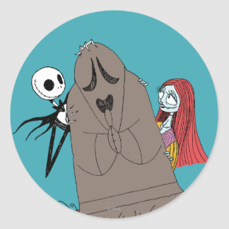 Jack and Sally Hiding Behind Tombstone Classic Round Sticker