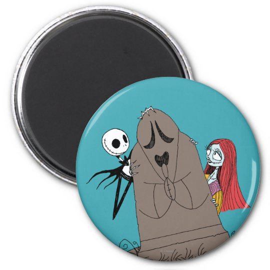 Jack and Sally Hiding Behind Tombstone Magnet
