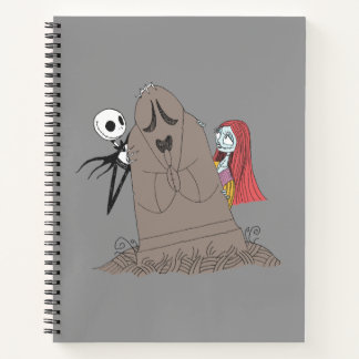 Jack and Sally Hiding Behind Tombstone Notebook