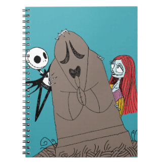 Jack and Sally Hiding Behind Tombstone Spiral Notebook