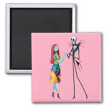Jack and Sally Holding Hands 2 Inch Square Magnet