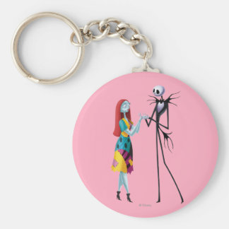 Jack and Sally Holding Hands Basic Round Button Keychain