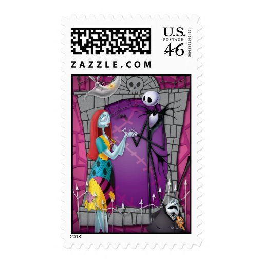 Jack and Sally Holding Hands Postage Stamp