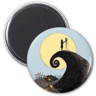 Jack and Sally Holding Hands Under the Moon 2 Inch Round Magnet