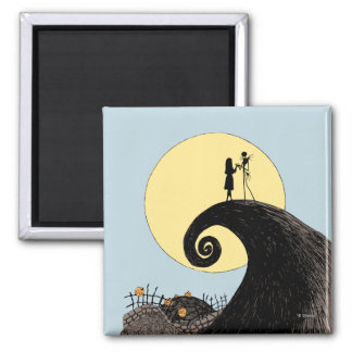 Jack and Sally Holding Hands Under the Moon 2 Inch Square Magnet