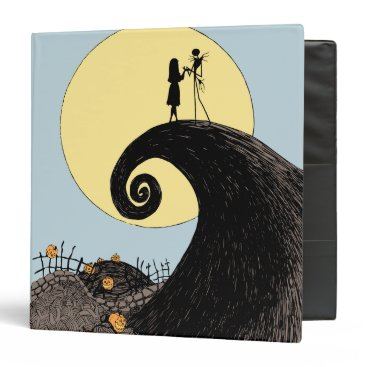 Christmas Themed Jack and Sally Holding Hands Under the Moon 3 Ring Binder