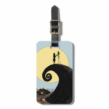 Christmas Themed Jack and Sally Holding Hands Under the Moon Bag Tag