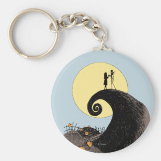 Jack and Sally Holding Hands Under the Moon Basic Round Button Keychain