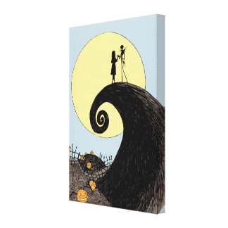 Jack and Sally Holding Hands Under the Moon Canvas Print