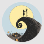 Jack and Sally Holding Hands Under the Moon Classic Round Sticker