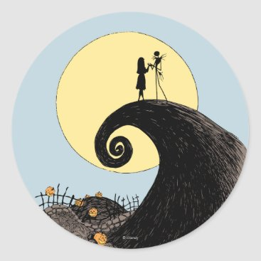 Christmas Themed Jack and Sally Holding Hands Under the Moon Classic Round Sticker