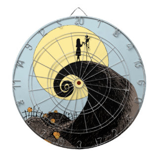 Jack and Sally Holding Hands Under the Moon Dartboards