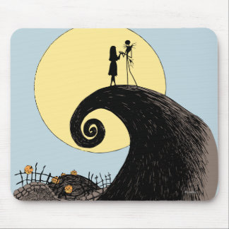 Jack and Sally Holding Hands Under the Moon Mouse Pad