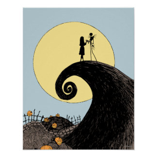 Jack and Sally Holding Hands Under the Moon Poster