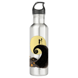 Jack and Sally Holding Hands Under the Moon Stainless Steel Water Bottle