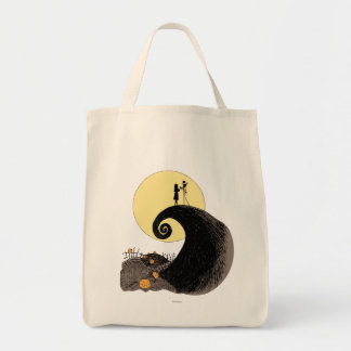 Jack and Sally Holding Hands Under the Moon Tote Bag