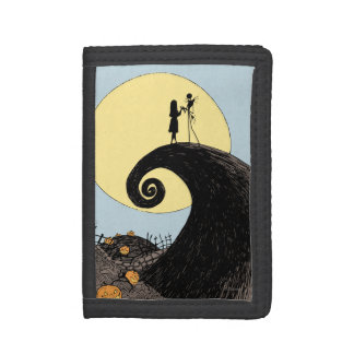 Jack and Sally Holding Hands Under the Moon Trifold Wallet