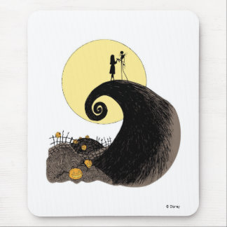 Jack and Sally holding hands under the moonlight Mouse Pad