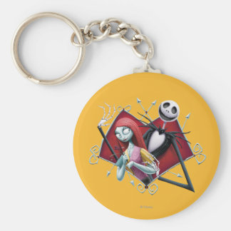 Jack and Sally in Heart Basic Round Button Keychain