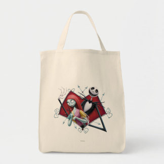 Jack and Sally in Heart Grocery Tote Bag