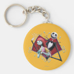 Jack and Sally in Heart Key Chain