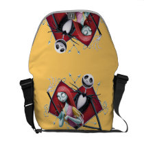 Jack and Sally in Heart Messenger Bag at Zazzle