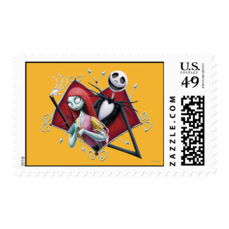 Jack and Sally in Heart Postage Stamps