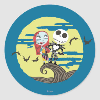 Jack and Sally Moon Classic Round Sticker