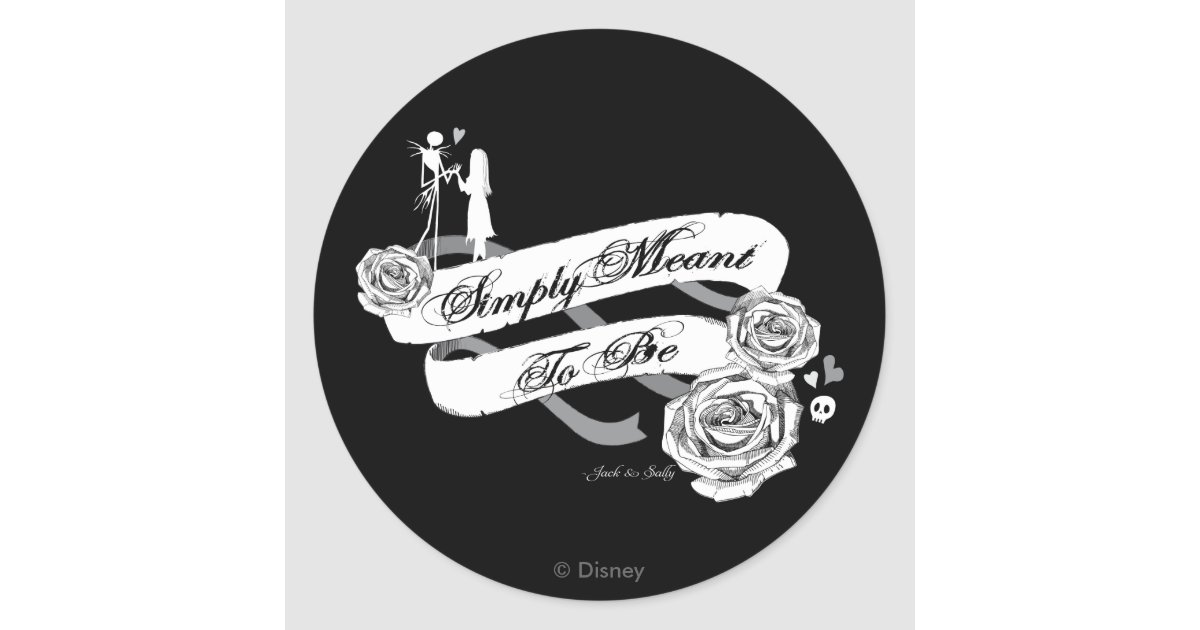Jack And Sally Simply Meant To Be Classic Round Sticker