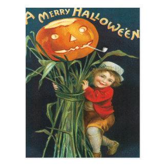 Jack And The Pumpkin Stalk Vintage Postcard
