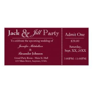Jack de color rojo oscuro e invitación del boleto tarjetas publicitarias a todo color