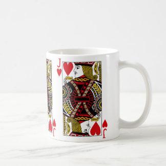 Jack de la taza de café del naipe de los corazones