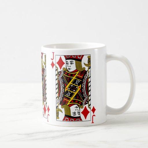 Jack de la taza de café del naipe de los diamantes