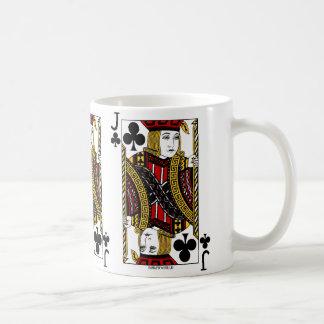 Jack del naipe de los clubs taza de café