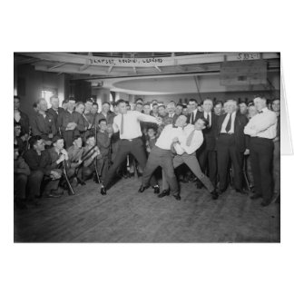 Jack Dempsey Mock Fighting Against Harry Houdini Greeting Card
